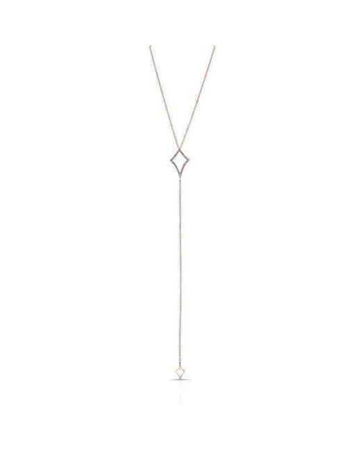 Anne Sisteron - Metallic 14kt Rose Gold Diamond Shape Lariat Necklace - Lyst