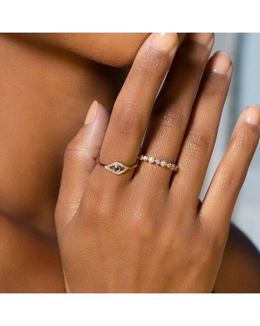 Anne Sisteron Metallic 14kt White Gold Diamond Sapphire Open Evil Eye Ring