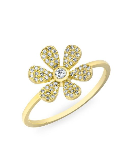 Anne Sisteron | Metallic 14kt Yellow Gold Diamond Single Daisy Ring | Lyst