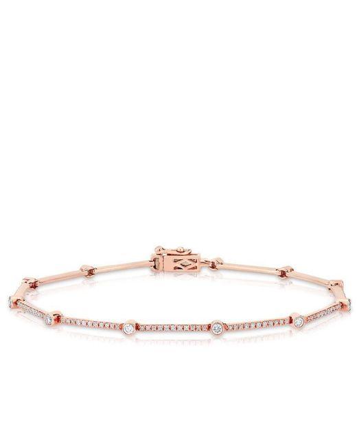 Anne Sisteron - Metallic 14kt Rose Gold Diamond Bar Links Bracelet - Lyst