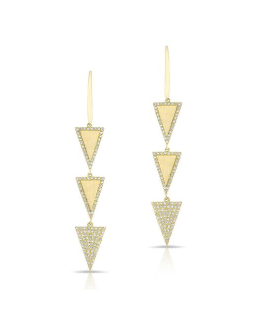 Anne Sisteron - Metallic 14kt Yellow Gold Diamond Triple Triangle Wireback Earrings - Lyst