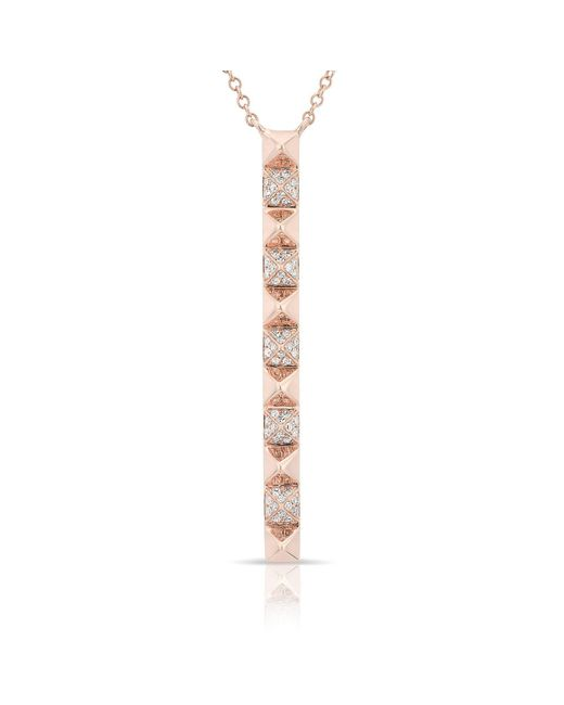 Anne Sisteron | Metallic 14kt Rose Gold Diamond Long Bar Necklace | Lyst