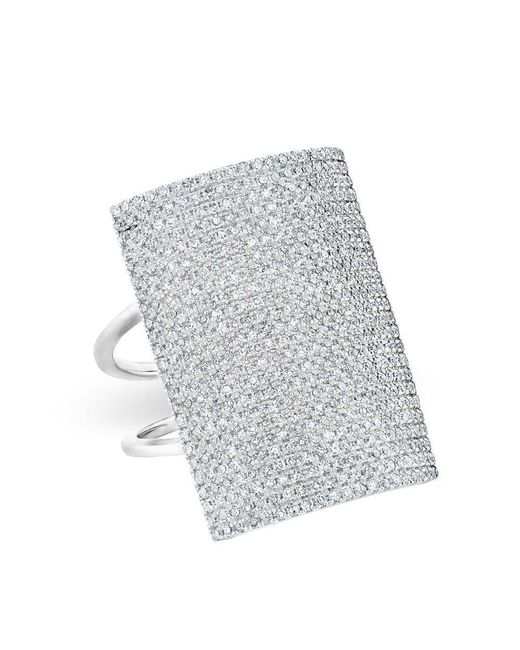 Anne Sisteron - Metallic 14kt White Gold Diamond Rectangle Armor Ring - Lyst