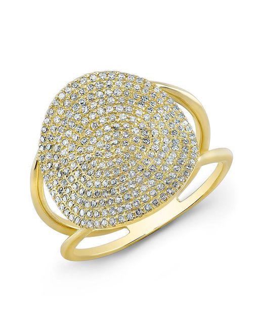 Anne Sisteron - Metallic 14kt Yellow Gold Diamond Disc Ring - Lyst