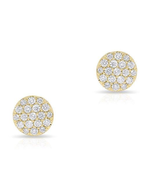 Anne Sisteron Metallic 14kt Yellow Gold Diamond Medium Disc Stud Earrings