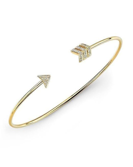 Anne Sisteron | Metallic 14kt Yellow Gold Diamond Arrow Cuff | Lyst