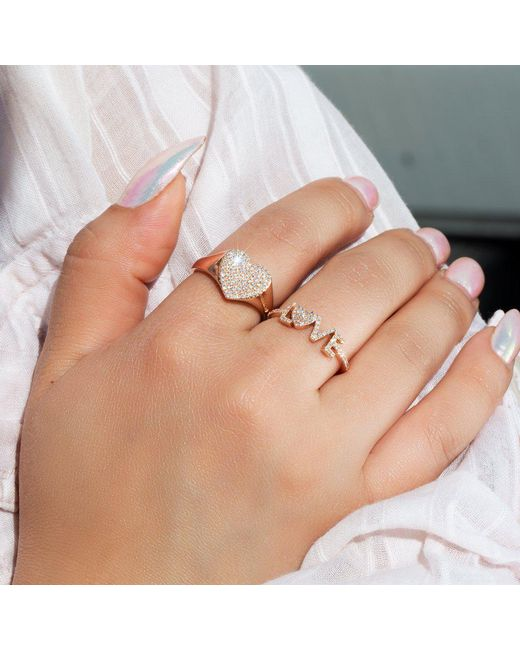 Anne Sisteron Multicolor 14kt Rose Gold Diamond Rachel Heart Ring