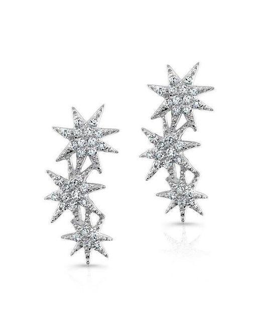 Anne Sisteron - Multicolor 14kt White Gold Diamond Triple Starburst Earrings - Lyst