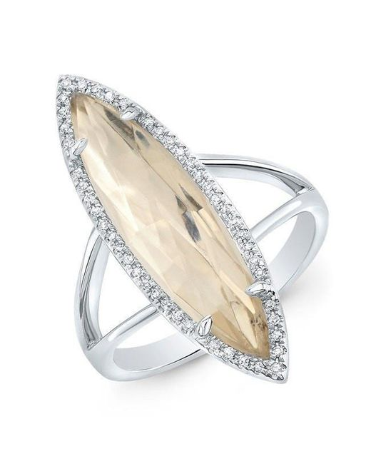 Anne Sisteron - Metallic 14kt White Gold Diamond Topaz Small Serena Ring - Lyst