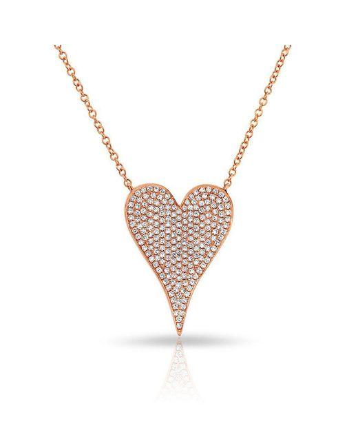Anne Sisteron Pink 14kt Rose Gold Diamond Medium Pave Heart Necklace