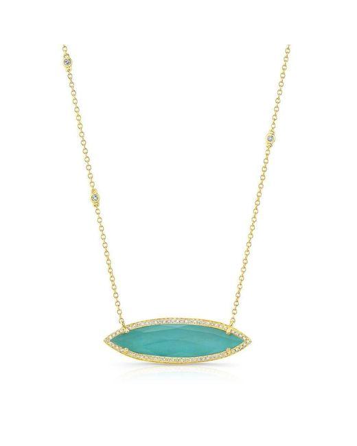Anne Sisteron - Metallic 14kt Yellow Gold Triple Diamond Chain Turquesa Necklace - Lyst