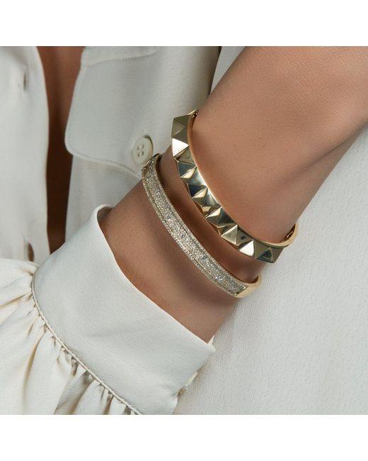Anne Sisteron Metallic 14kt Solid Yellow Gold Harlow Spike Bangle Bracelet