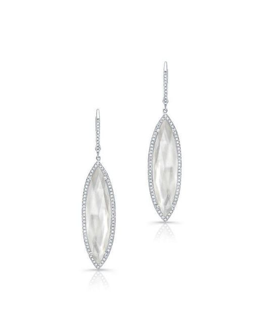 Anne Sisteron - Multicolor 14kt White Gold Diamond Mother Of Pearl Celeste Marquis Earrings - Lyst