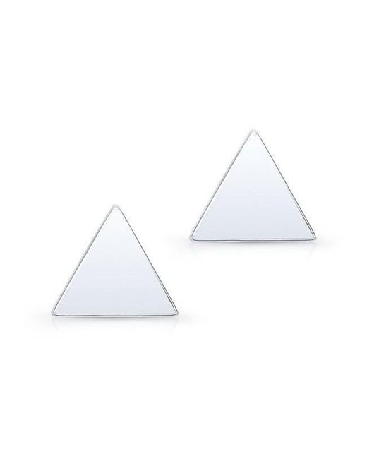 Anne Sisteron 14kt White Gold Triangle Stud Earrings
