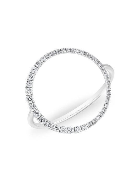 Anne Sisteron | Metallic 14kt White Gold Diamond Luxe Open Circle Ring | Lyst