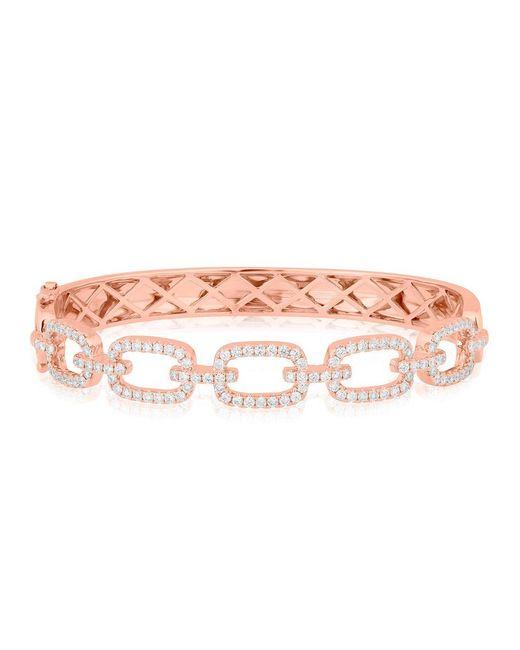 Anne Sisteron Multicolor 14kt Rose Gold Diamond Square Links Bangle Bracelet