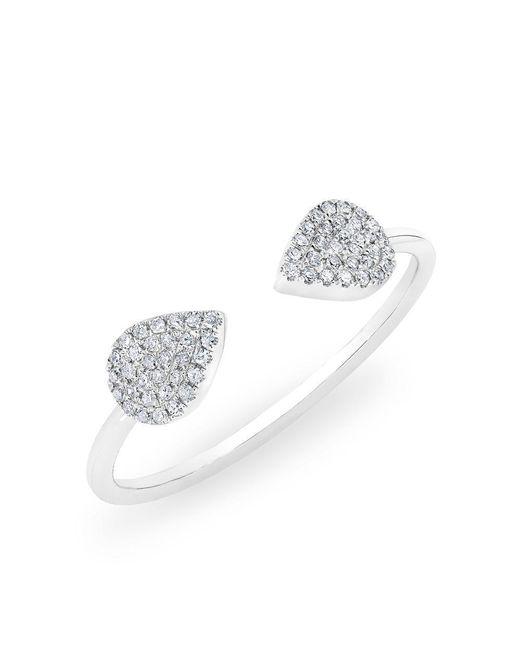 Anne Sisteron - Metallic 14kt White Gold Diamond Open Pear Pauline Ring - Lyst