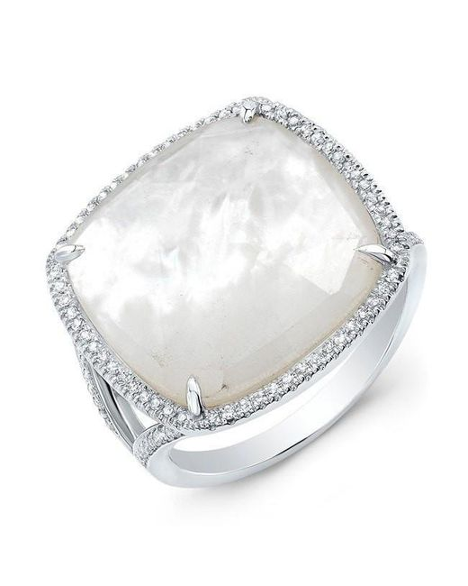 Anne Sisteron | Metallic 14kt White Gold Mother Of Pearl Diamond Doublet Ring | Lyst
