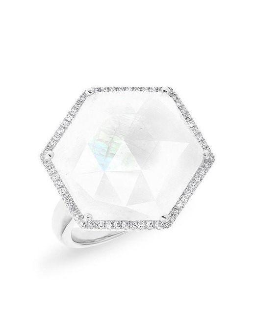 Anne Sisteron Multicolor 14kt White Gold Moonstone Diamond Hexagon Cocktail Ring