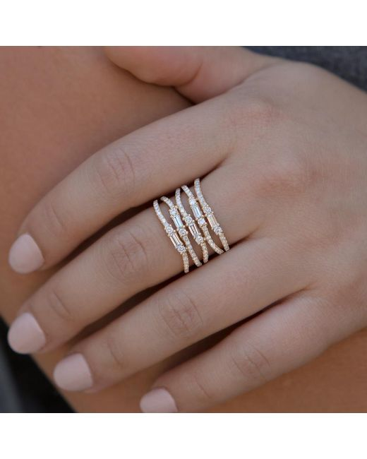 Anne Sisteron Multicolor 14kt Rose Gold Diamond Baguette Stacked Ring