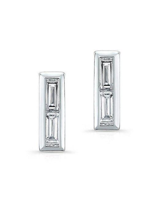 Anne Sisteron | Multicolor 14kt White Gold Diamond Double Baguette Bar Earrings | Lyst