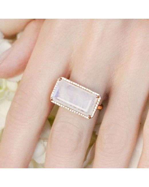 Anne Sisteron Metallic 14kt White Gold Diamond Base Moonstone Ring