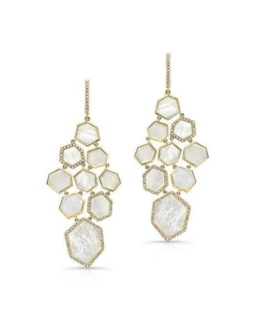 Anne Sisteron | Multicolor 14kt Yellow Gold White Mother Of Pearl Diamond Chandelier Earrings | Lyst