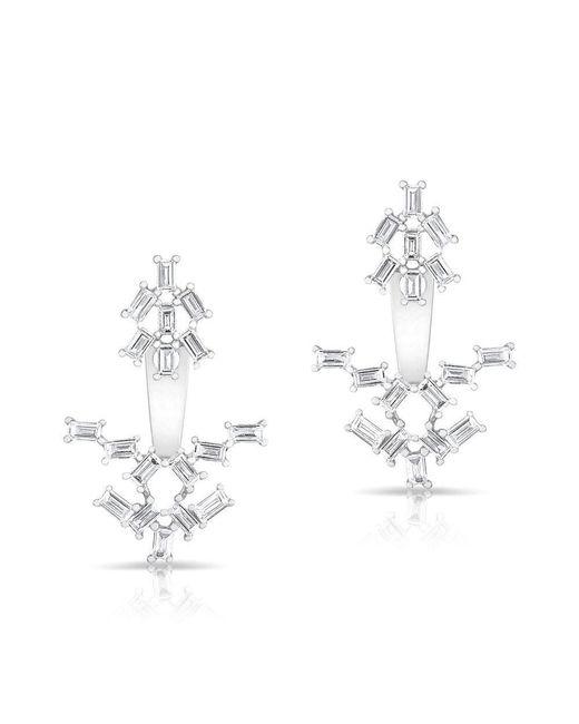 Anne Sisteron - Metallic 14kt White Gold Baguette Diamond Anastasia Floating Earrings - Lyst