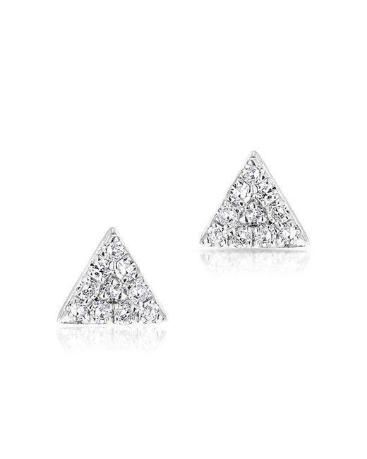 Anne Sisteron - 14kt White Gold Diamond Mini Triangle Stud Earrings - Lyst