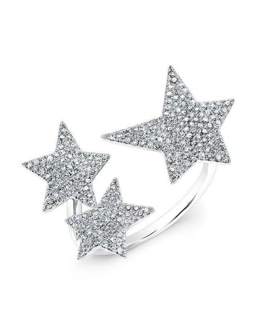 Anne Sisteron - Metallic 14kt White Gold Diamond Triple Star Ring - Lyst