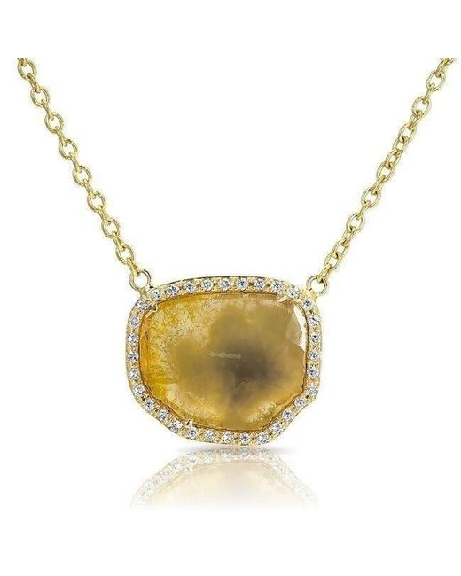 Anne Sisteron - Metallic 14kt Yellow Gold Canary Diamond Slice Necklace - Lyst