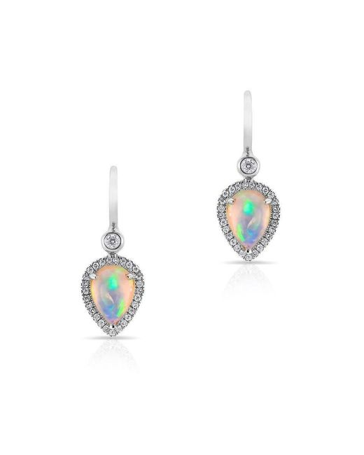 Anne Sisteron - Metallic 14kt White Gold Opal Diamond Pear Drop Earrings - Lyst