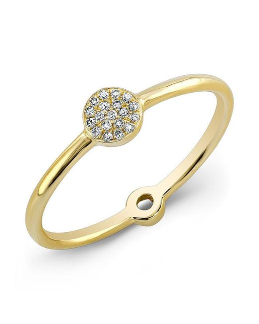 Anne Sisteron | Metallic 14kt Yellow Gold Diamond Mini Disc Ring | Lyst