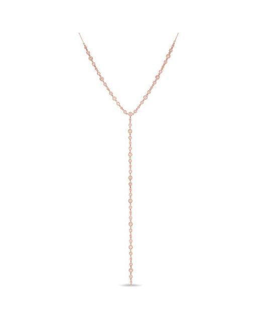 Anne Sisteron | Metallic 14kt Rose Gold Diamond Bezel Pave Lariat Necklace | Lyst