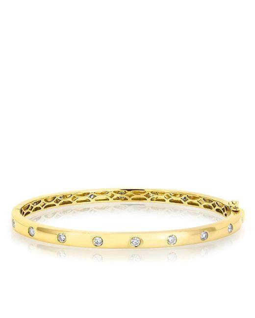 Anne Sisteron   Metallic 14kt Yellow Gold Sparkle Full Diamond Bangle Bracelet   Lyst