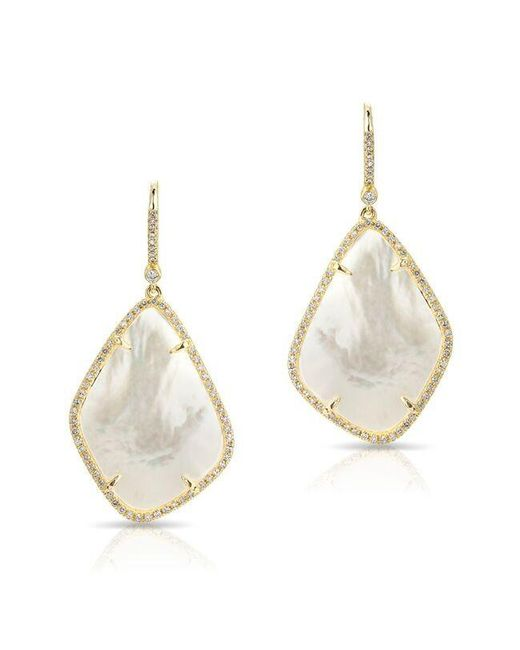 Anne Sisteron | Metallic 14kt Yellow Gold Mother Of Pearl Organic Diamond Earrings | Lyst