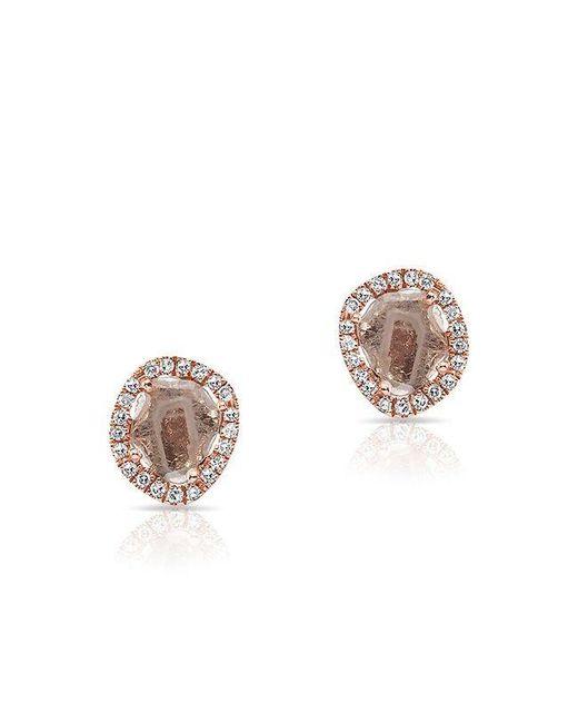 Anne Sisteron   Multicolor 14kt Rose Gold Mini Diamond Slice Stud Earrings   Lyst