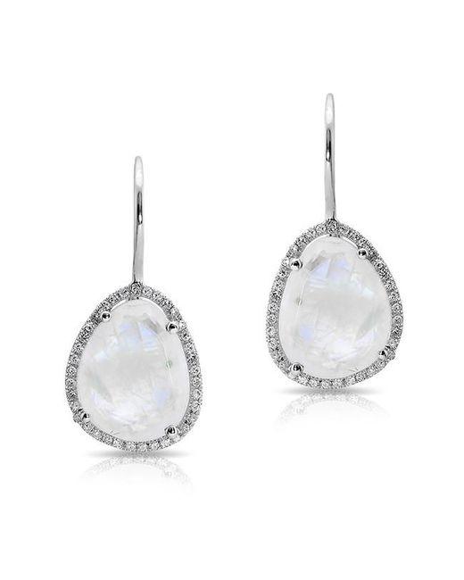 Anne Sisteron | Metallic 14kt White Gold Moonstone Diamond Organic Shape Earrings | Lyst