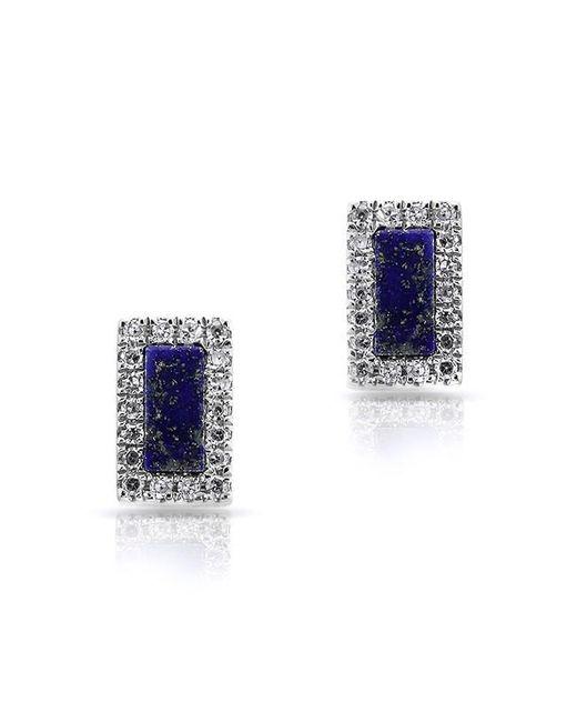 Anne Sisteron | Blue 14kt White Gold Lapis Diamond Bar Stud Earrings | Lyst