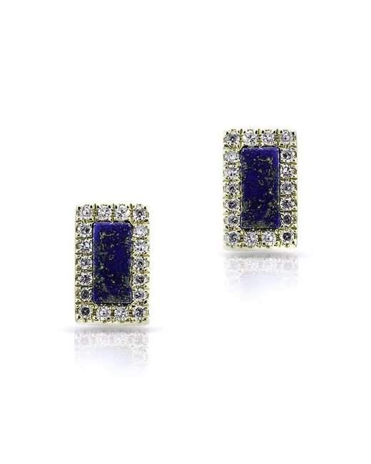 Anne Sisteron | Blue 14kt Yellow Gold Lapis Diamond Bar Stud Earrings | Lyst