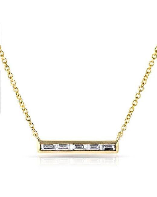 Anne Sisteron | Metallic 14kt Yellow Gold Baguette Diamond Short Bar Necklace | Lyst