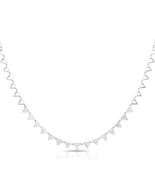 Anne Sisteron | Metallic 14kt White Gold Diamond Triangle Link Necklace | Lyst