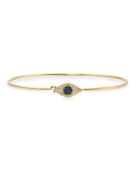 Anne Sisteron | Metallic 14kt Yellow Gold Sapphire And Diamond Evil Eye Latch Bracelet | Lyst