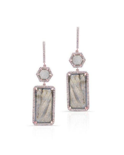 Anne Sisteron | Metallic 14kt Rose Gold Labradorite Diamond Geometric Earrings | Lyst