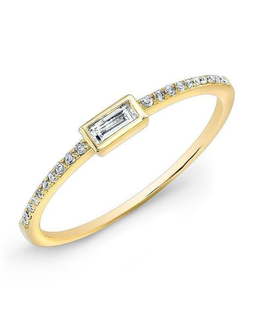 Anne Sisteron | Metallic 14kt Yellow Gold Diamond Baguette Pinkie Ring | Lyst