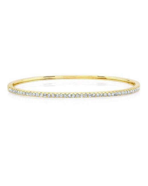 Anne Sisteron | Metallic 14kt Yellow Gold Half Diamond Bangle Bracelet | Lyst