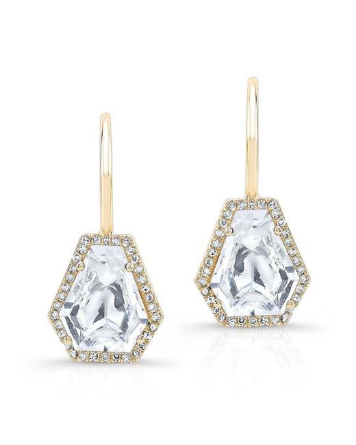 Anne Sisteron | Metallic 14kt Yellow Gold White Topaz Diamond Jewel Earrings | Lyst