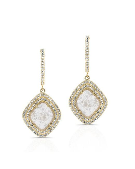 Anne Sisteron | Metallic 14kt Yellow Gold Diamond Slice Double Halo Earrings | Lyst