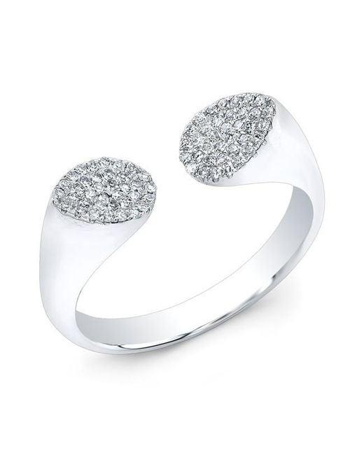 Anne Sisteron | Metallic 14kt White Gold Diamond Open Double Pear Ring | Lyst
