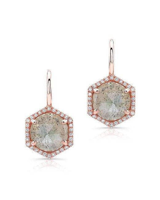 Anne Sisteron | Metallic 14kt Rose Gold Labradorite Diamond Hexagon Dangle Earrings | Lyst